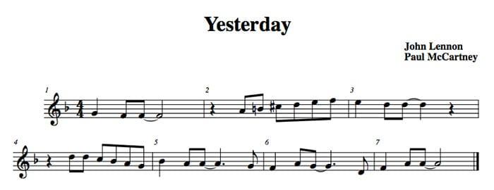 Le sette misure della prima frase musicale di Yesterday.
