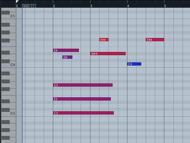 Note MIDI allineate alla griglia con la quantizzazione.