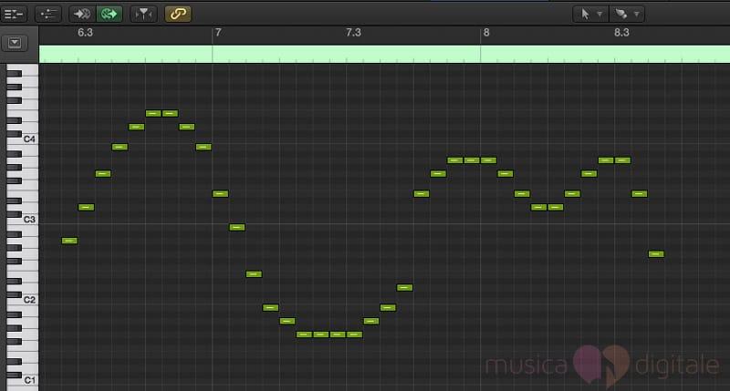 Lo strumento Brush di Logic, per disegnare velocemente una parte MIDI