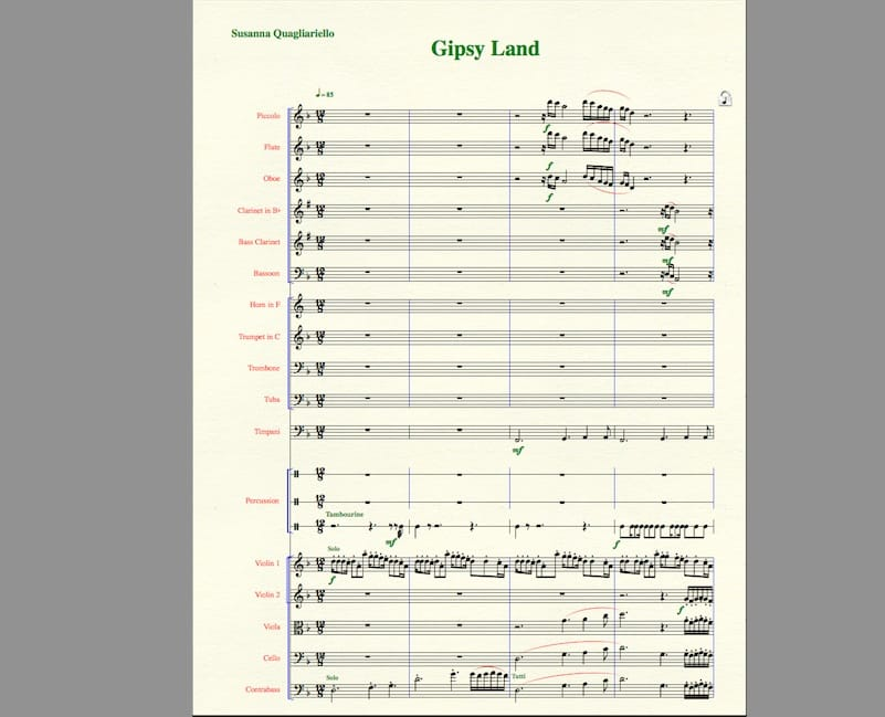 Una partitura creata usando Finale