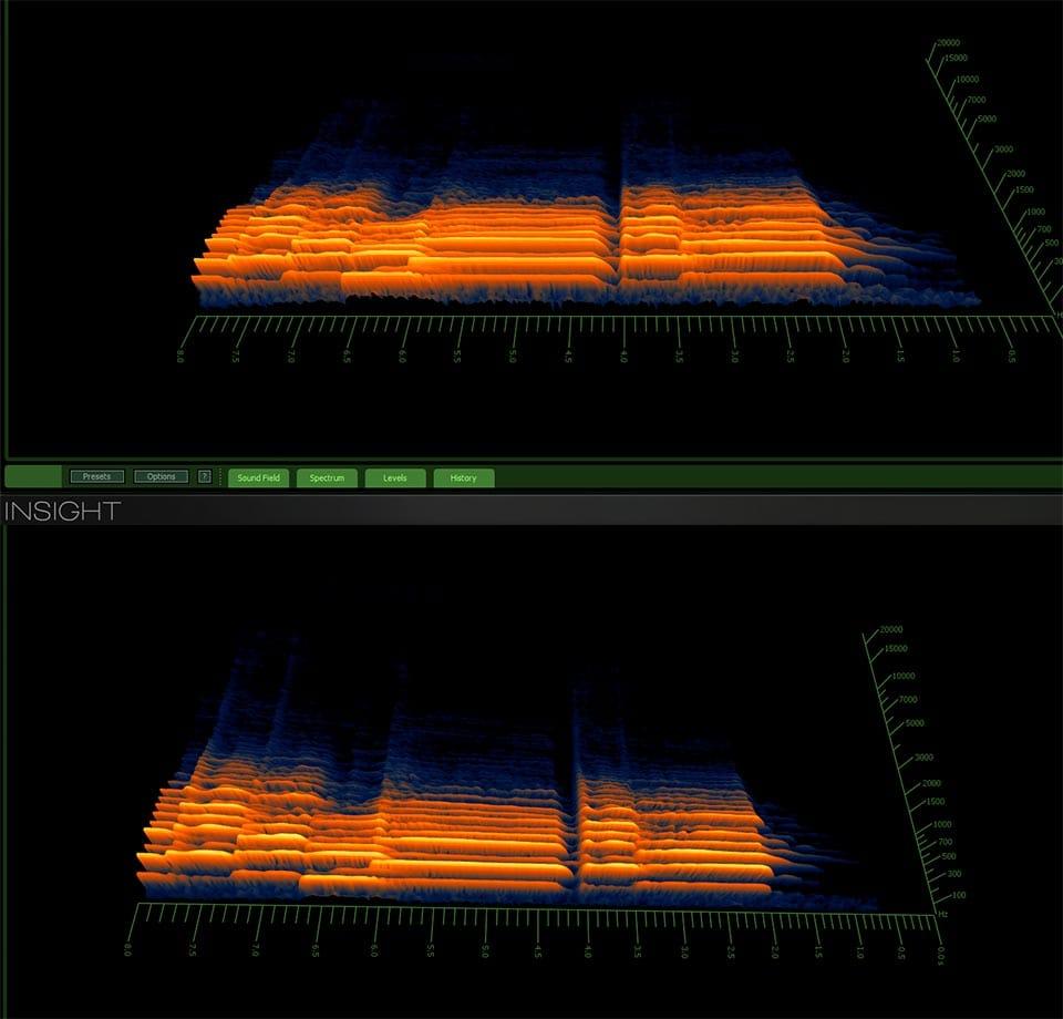 Eliminare eco sala spettrogramma iZotope Insight