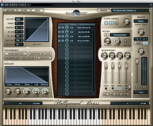 L'interfaccia di Play, il sample player degli Hollywood Brass