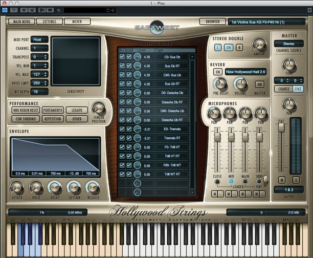 L'interfaccia di Play, il sample player delle Hollywood Strings