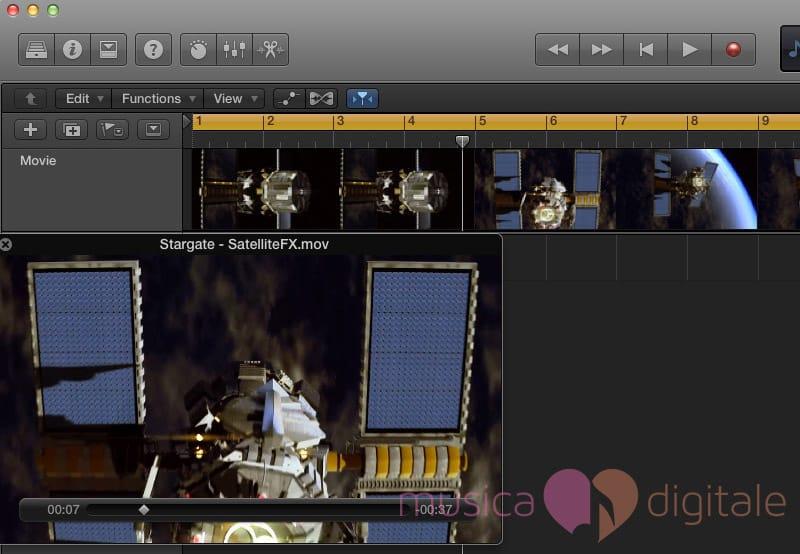 La finestra per la visualizzazione di un video in Logic Pro X