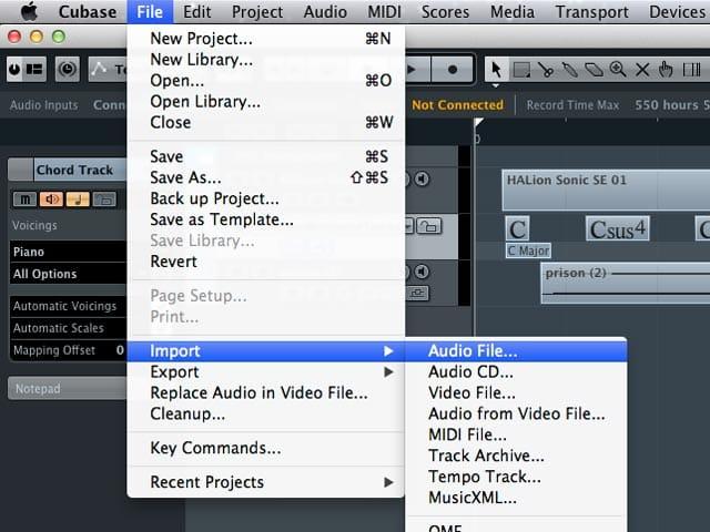 Il percorso per importare un file audio, video o midi