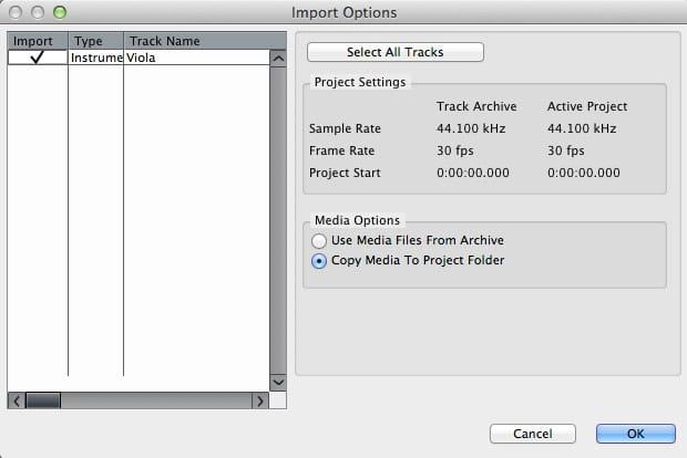 Il pannello con le impostazioni per importare un archivio traccia