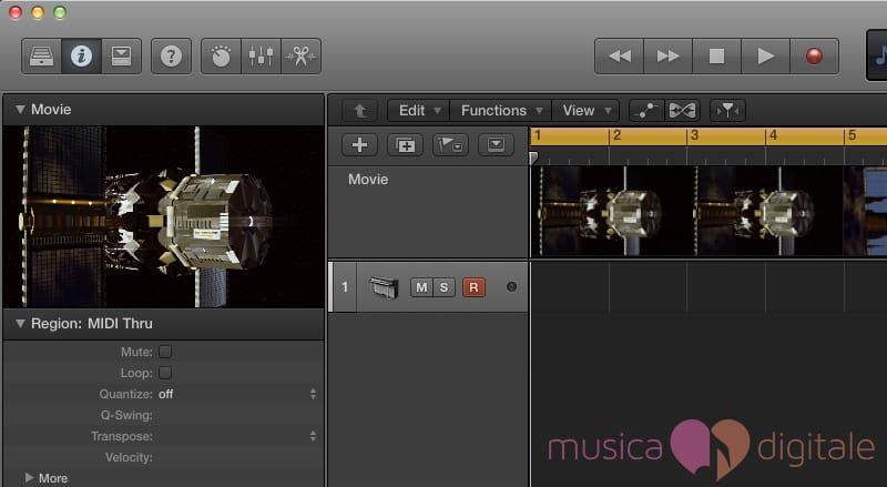 Il video importato in Logic Pro X