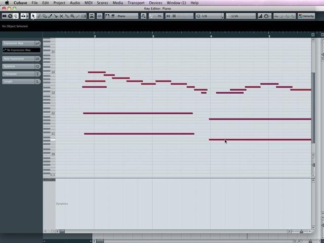 Il Key Editor, la finestra per l'editing e il monitoraggio delle note MIDI