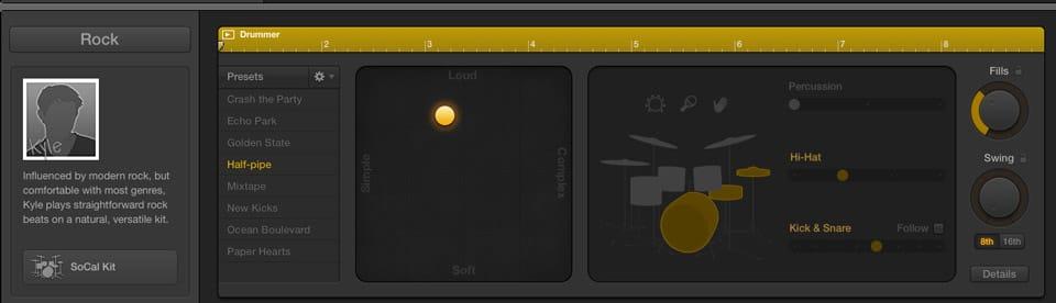 I comandi per personalizzare la traccia Drummer