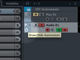 Il pulsante che mostra la Traccia Automazione