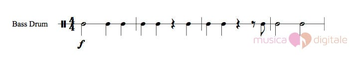 Rigo musicale per percussioni a suono indeterminato