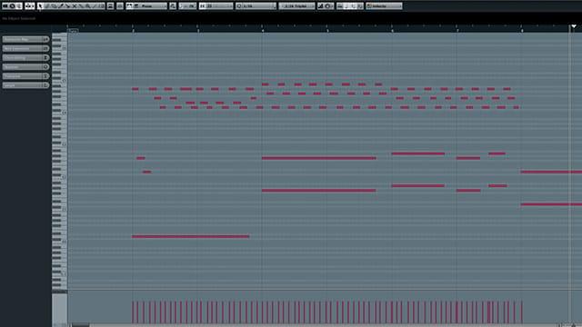 Schermata Piano Roll di un sequencer