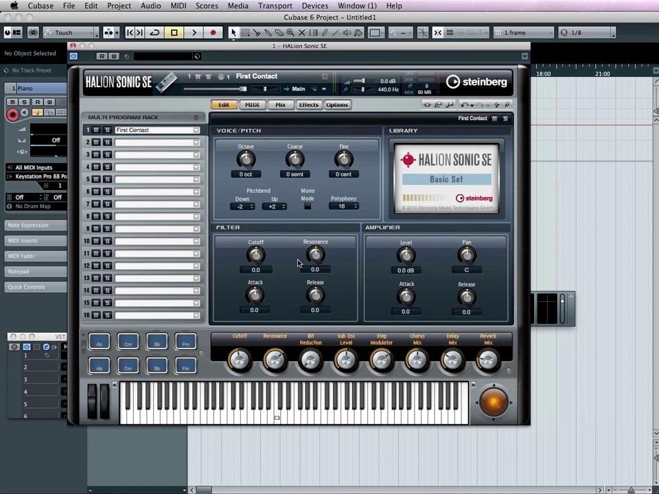 Schermata della HALion Sonic SE, il sample player di serie in Cubase 6.