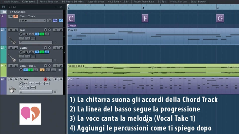 Schermata Cubase con schema della canzone