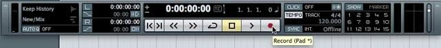 Il Pannello di Transporto con i comandi principali di riproduzione del brano.