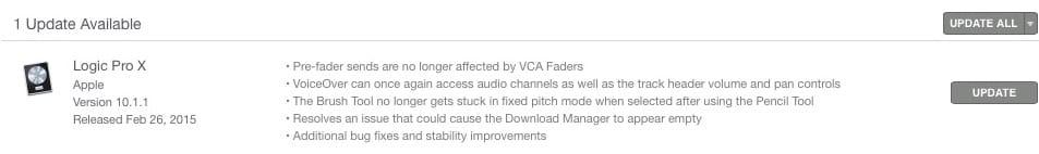 La notifica di aggiornamento di Logic nell'App Store