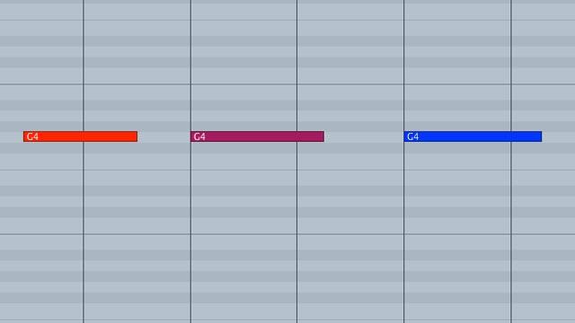 Note MIDI colorate diversamente a seconda della velocity