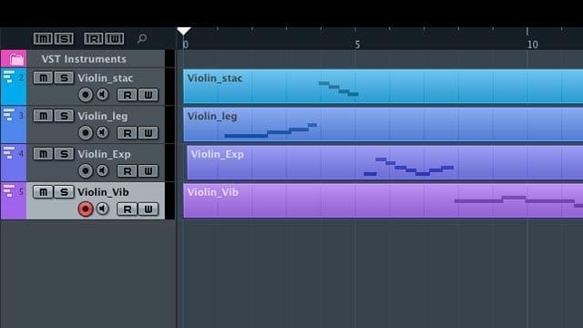 L'elenco delle tracce con le diverse articolazioni del virtual instrument del violino