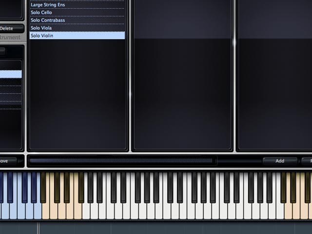 Un virtual instrument di violino abilitato per i keyswitch.